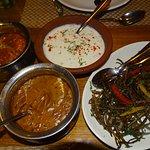 dal makhani, raita ,paneer akbari and karari bhindi