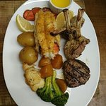 Lobster tail,lamb,filet mignon,broccoli,cauliflower and golden beets!