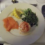 Smoked salmon with prawn and egg tower starter