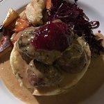 meatballs on mash with the tastiest sauce and veg