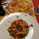 Best pasta arrabiata i had in rome. Pizza was tasty too.