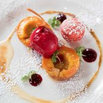 Grilled peaches, vanilla sabayon, raspberry macaron and raspberry sorbet