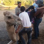 Guys helping Jamie on the camel