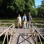 Bamboo jetty and the water body.
