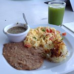 Mexican eggs and green juice (taste like pineapple)