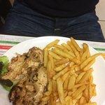 Omelette frites et filets de poulets sauce maroilles et son irish-coffee 👌🏻
