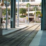 Trolley stop across from the hotel
