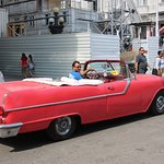 Vintage American convertible used as taxi