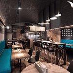 Дизайн SB Burgers кафе сочетает в себе элементы американской бургерной и современного лофта