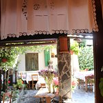 Taverna Tatjana, view from interior to the lovely patio