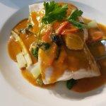 Nasi gorang and Red fish curry