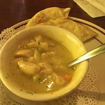 Cup of chicken dumpling soup