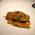 Black bass with sweet potato, broccoli rabe and pistachio