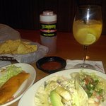 Tamale, fish taco, shrimp taco, chips and salsa and sangria...YUM!