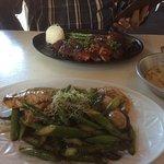 Duck and Vego prawns