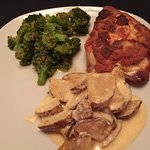 Chicken cordon bleu with roasted potatoes and broccoli