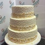 3 Tier Wedding Cake with Pearls - Wedding Almond and Strawberry Vanilla Cake with Buttercream
