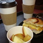 Ham and cheese bagel, dirty chai, double shot of coffee with cream and fresh fruit. Lovely Chris