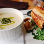 Roasted Parsnip & Celery Root Soup w/ Pear and Goat Cheese Sandwich