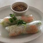 Veggie Pho, Beef (filet mignon), bean sprouts with mint leaves & shrimp spring rolls.