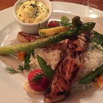 Chargrilled salmon fillet with legumes du jour