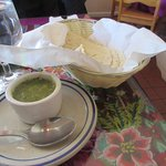 chips and green salsa