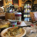Excellent Artichoke Pizza, Pumpkin Bread and Tea.