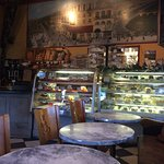 Fun Wall Painting Depicts Excellent French Corner Bakery in Cambria, Cafe Style Seatting