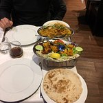 Double chicken tikka, naan bread and chef special