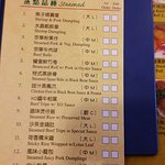 The check list of what you can order