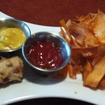 Blue flour corn dogs and sweet potato chips. I liked the red chili ketchup and green chile musta