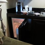 Fridge in 427 was poorly-placed in a corner, facing couch and lamp