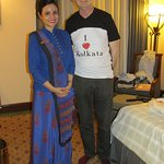 The lady who got us I love Kolkata t-shirts