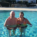 Christmas Day in the outdoor pool - a bit chilly but the sun is shining.