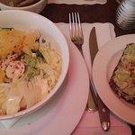 Avocado toast and fresh salad