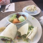 Superb vegetable wrap with fresh fruit and good cole slaw