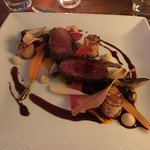 Venison main course at dinner