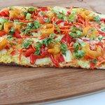 kafe hub curry shrimp flatbread