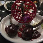 Rack of venison with red wine & currant reduction.