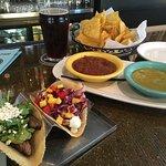 Carne Asada taco, Shrimp taco and chips & salsa