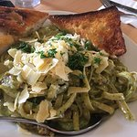 Chicken and Pesto Pasta with Garlic Bread $14.00