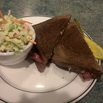 Rueben with coleslaw -- GOOD.