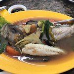 "Fish soup, fried vegetables with various mushroom & steam ""kerapu"" fish."