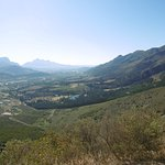 View from the pass down to the town of frauschhoek.  View of the pool area .