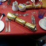 Christmas table laid out with Christmas Novelties