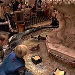 The famous Peabody ducks swimming in the hotel fountain.