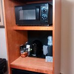 microwave, coffee maker, refrigerator