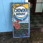 Charlie's Chowder House promo-board.
