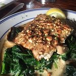 Cashew Crusted Tilapia with sauteed spinach and mushrooms (special for the day)