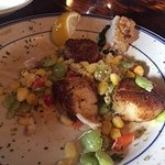 Blackened scallops with succotash (special of the day)